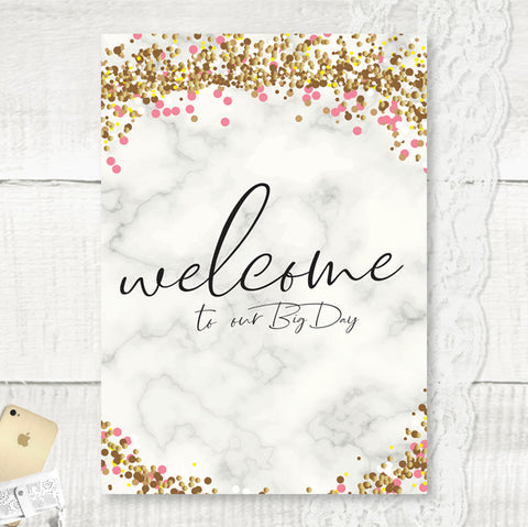 Personalised Welcome Wedding Sign marble and glitter effect