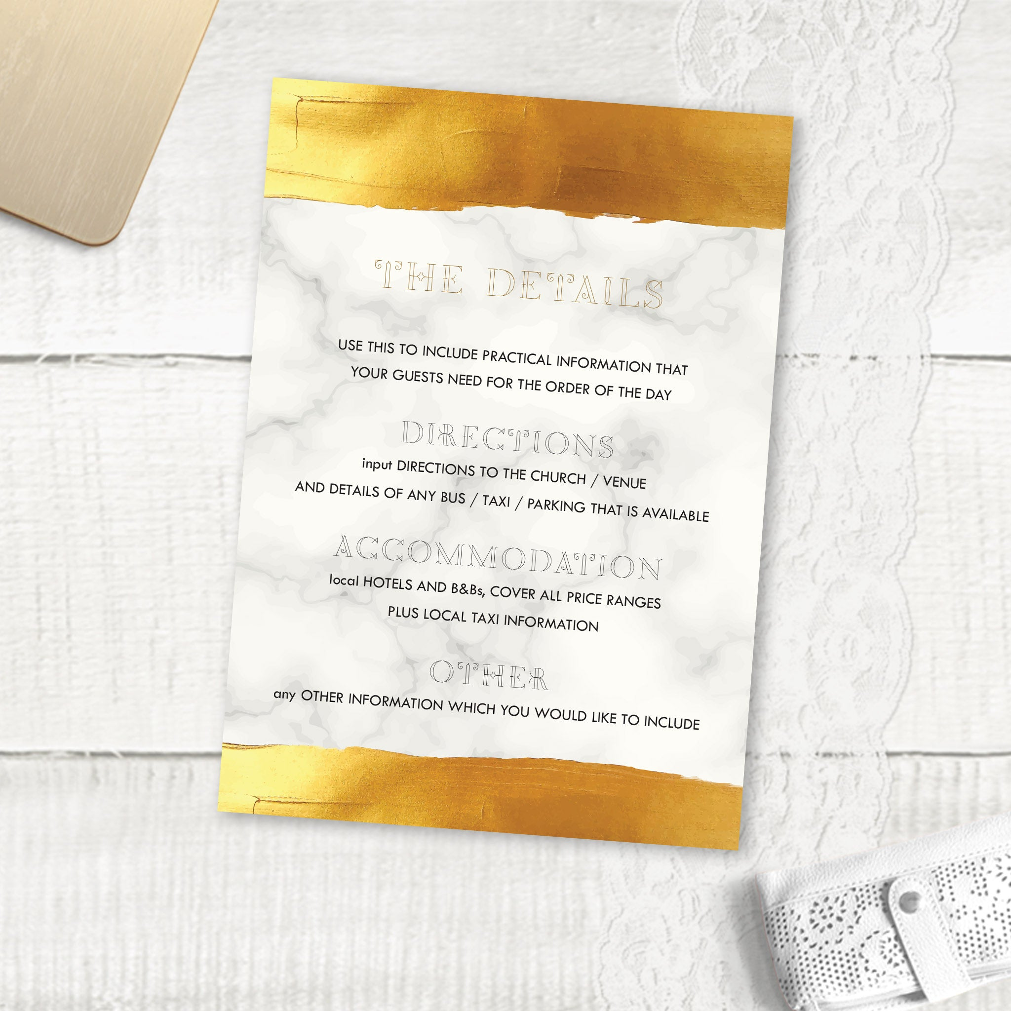Gold Band Marble - Guest Information Card