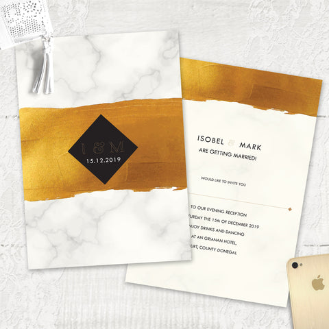 Gold Band Marble - Evening Invitation
