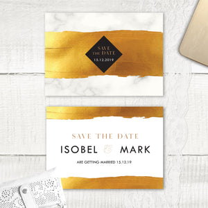 Gold Band Marble - Save the Date