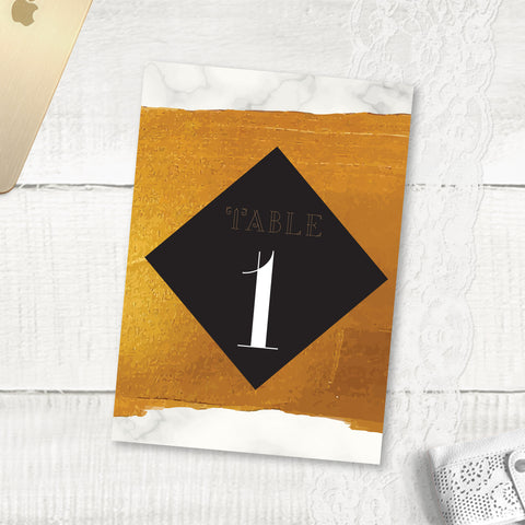 Gold Band Marble - Table Numbers