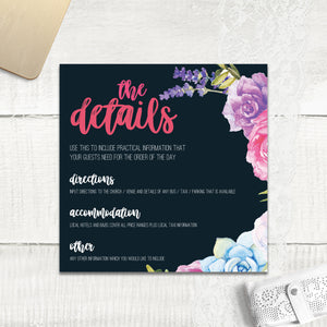 Navy Fab Floral - Guest Information Card