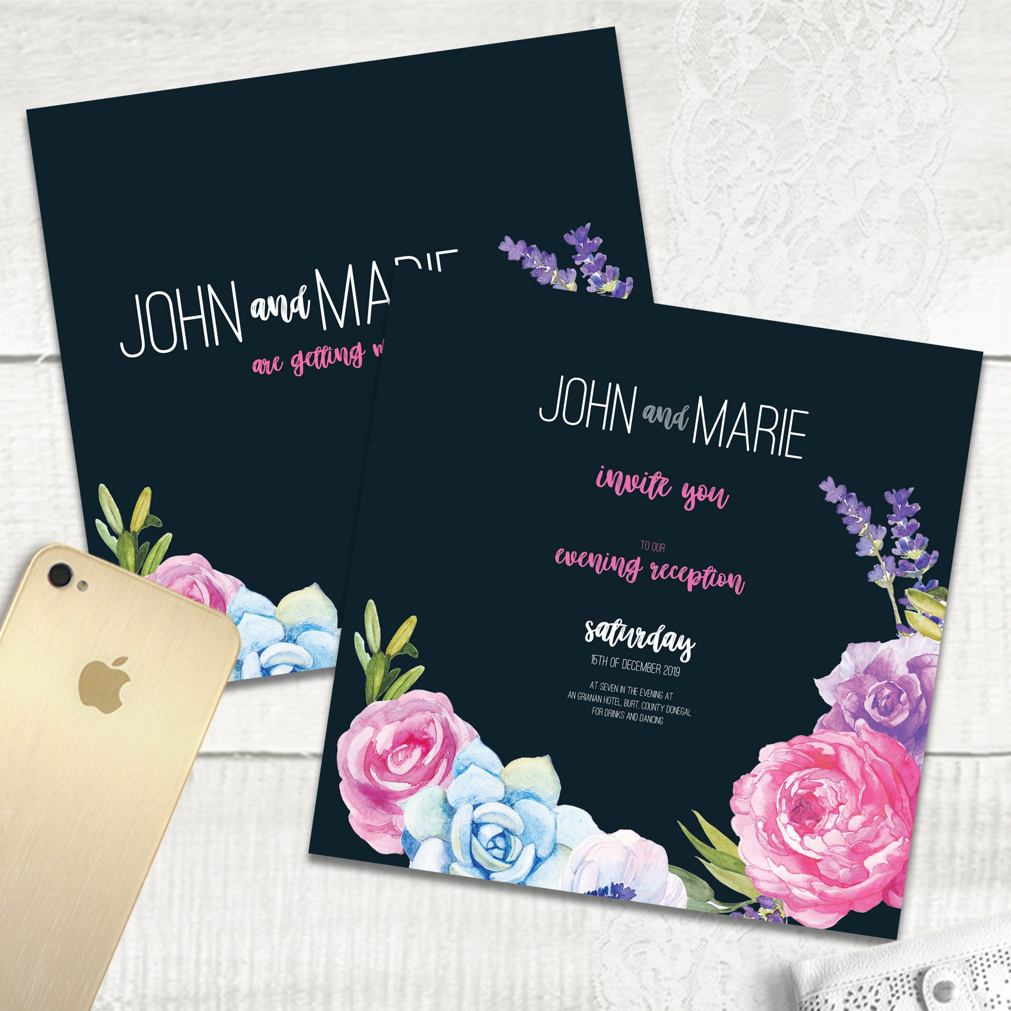 Navy Fab Floral - Evening Invitation