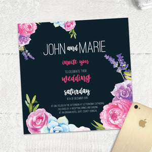 Navy Fab Floral - Main Invite