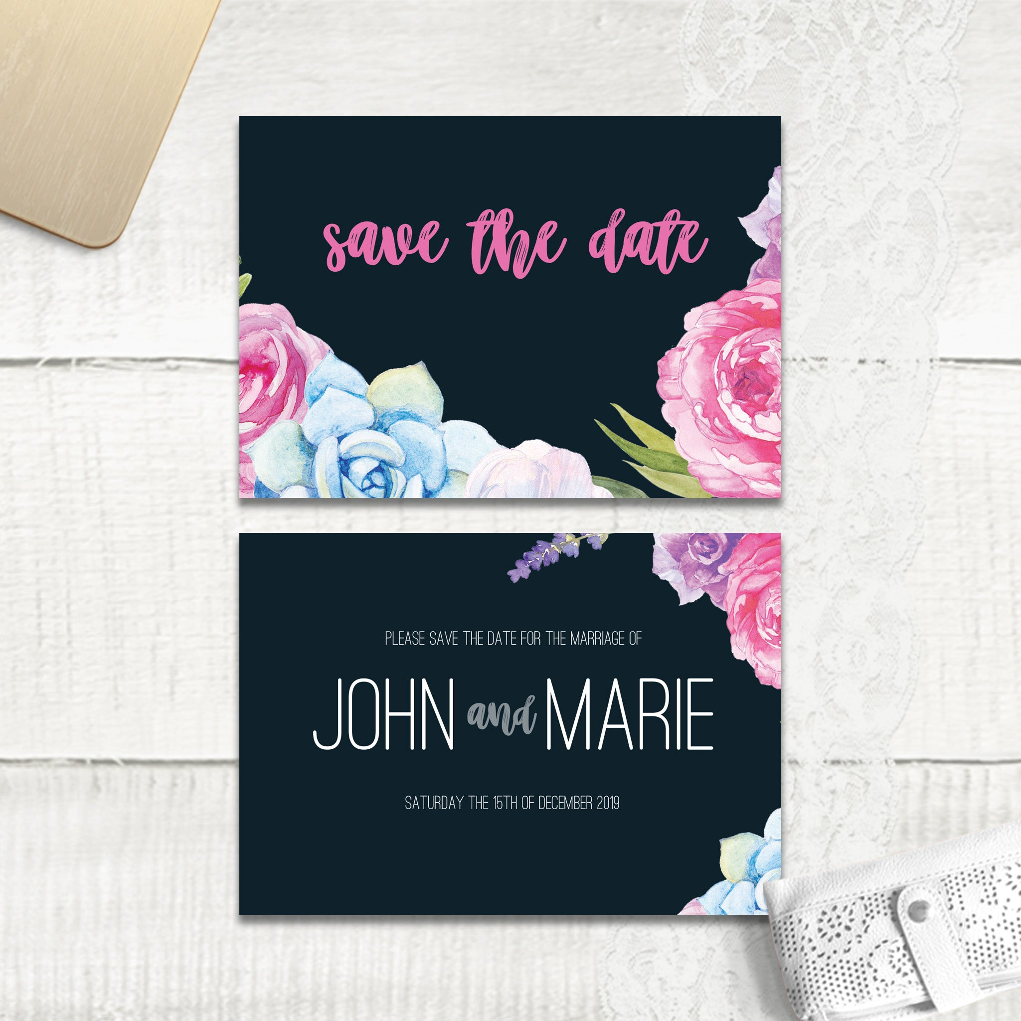 Navy Fab Floral - Save the Date