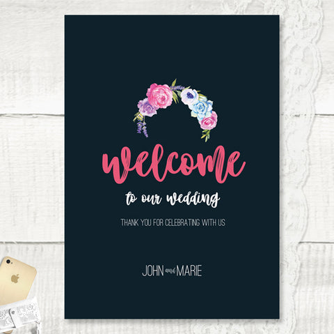 Personalised Welcome Wedding Sign Navy Colour Scheme