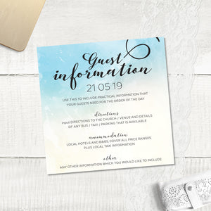 Ocean Blue Watercolour - Guest Information Card