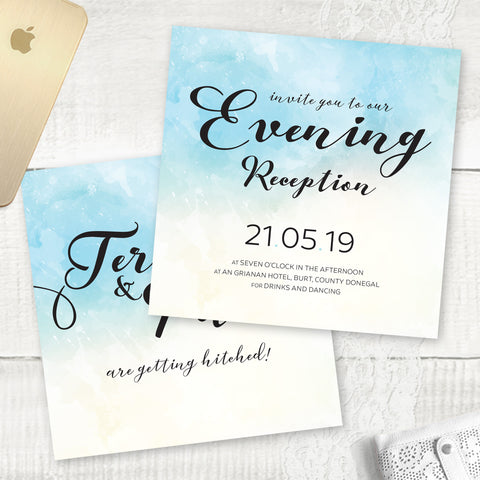 Ocean Blue Watercolour - Evening Invitation