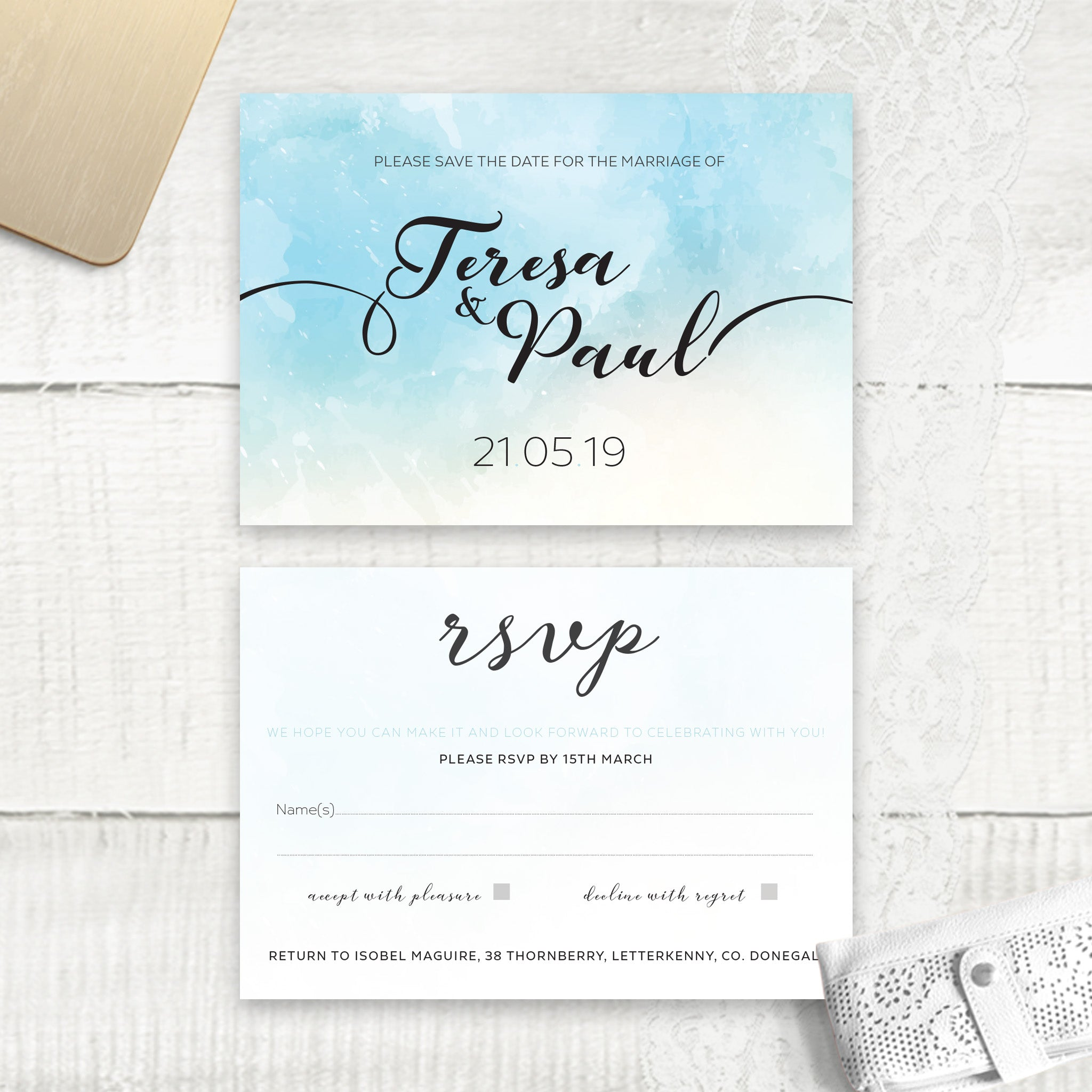 Ocean Blue Watercolour - RSVP