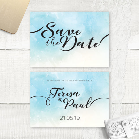 Ocean Blue Watercolour - Save the Date