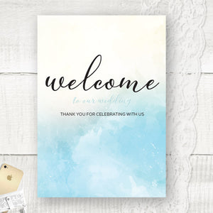 Ocean Blue Watercolour - Wedding Welcome Sign