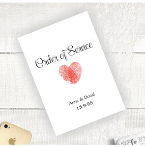 Thumb Print Heart - Order Of Service