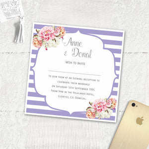 Peony Stripe - Evening Invitation