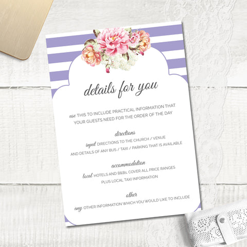 Peony Stripe - Guest Information Card