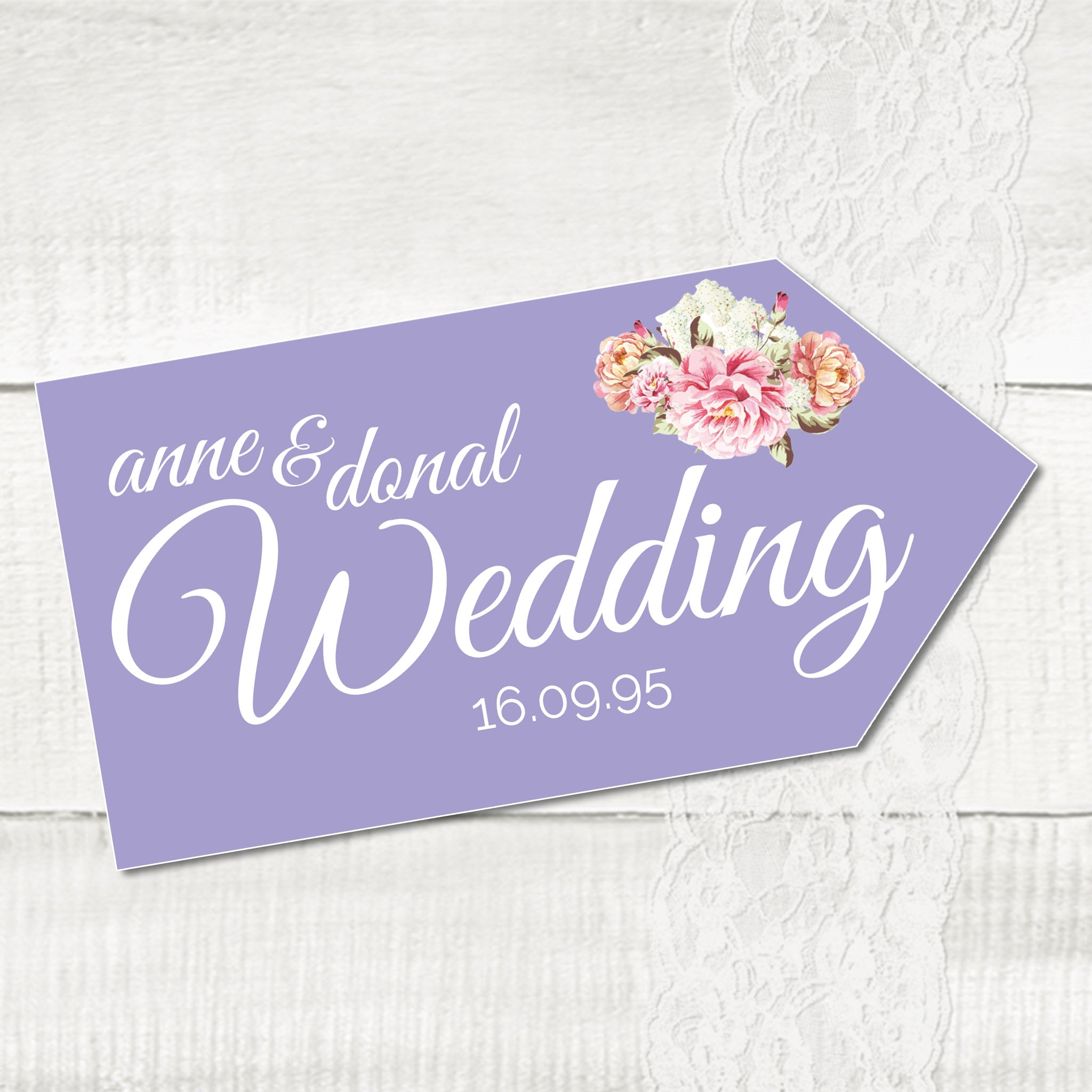 Peony Stripe - Wedding Pointer Sign