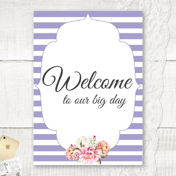 Peony Stripe - Wedding Welcome Sign