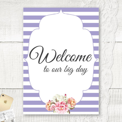 Peony Stripe - Welcome Sign