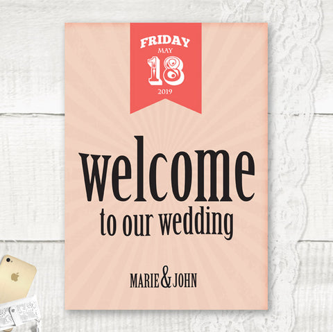 Red Vintage - Wedding Welcome Sign