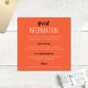 Rustic Love - Guest Information Card