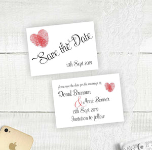 Thumb Print Heart - Save the Date