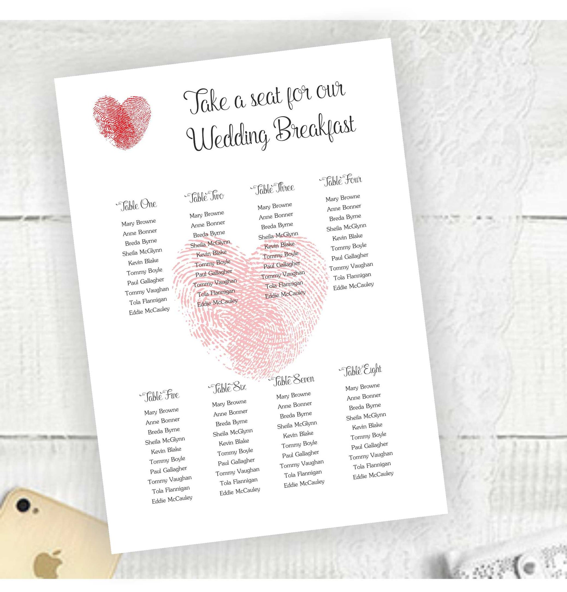 Thumb Print Heart - Seating Plan