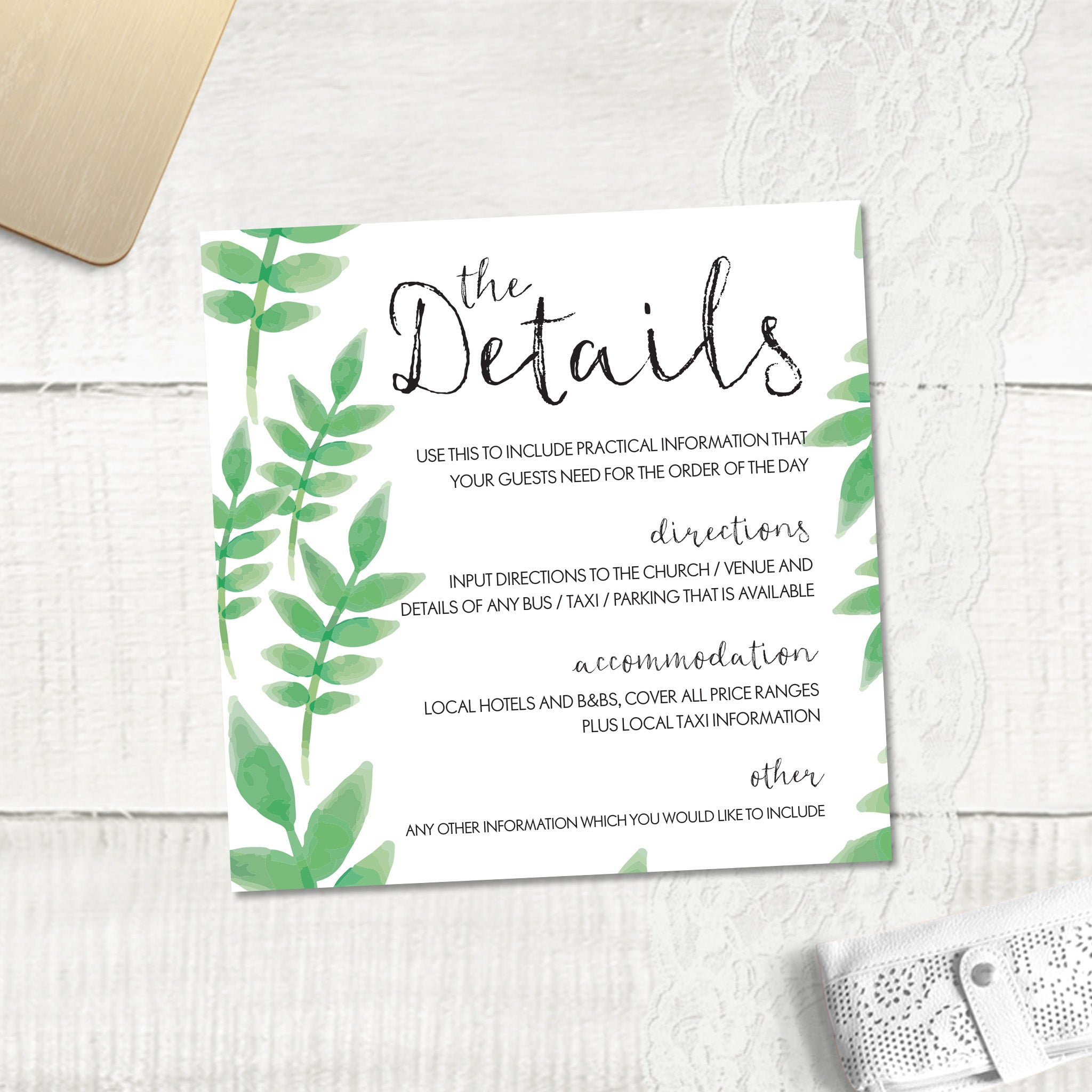 Spring Leaves - Guest Information Card