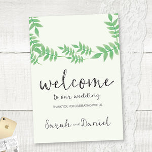 Spring Leaves - Wedding Welcome Sign