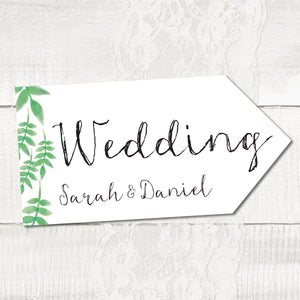 Spring Leaves - Wedding Pointer Sign