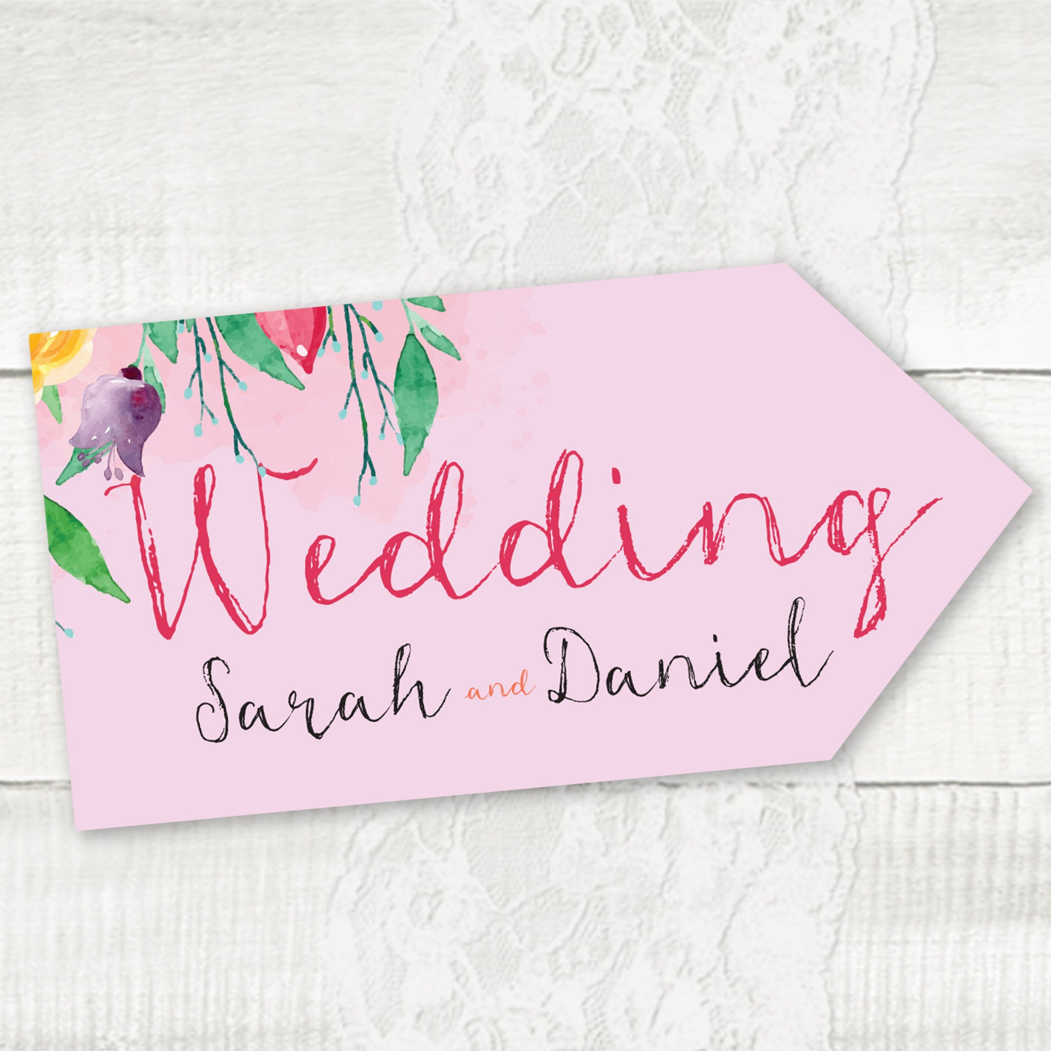 Summer Florals Wedding Pointer Sign