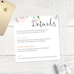 Summer Florals - Guest Information Card