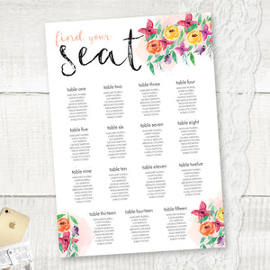 Summer Florals - Seating Plan