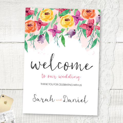 Summer Florals - Wedding Welcome Sign