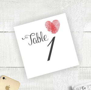Thumb Print Heart - Table Numbers