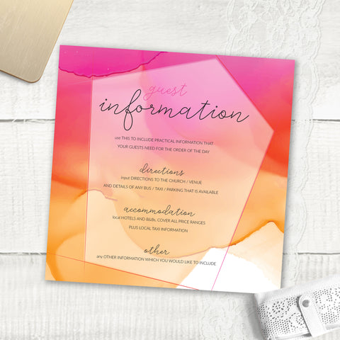 Watercolour - Guest Information Card