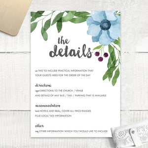 Winter Wedding - Guest Information Card