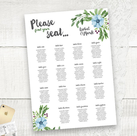 Winter Wedding - Seating Plan