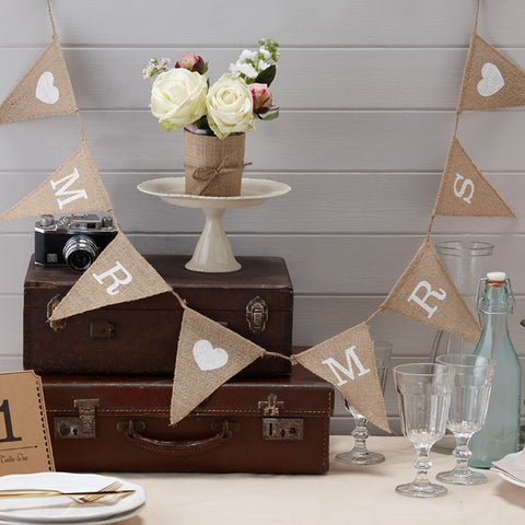 Mr & Mrs Hessian Bunting wedding decorations