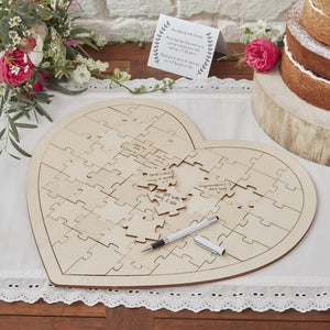 Wooden Heart Jigsaw wedding Guestbook