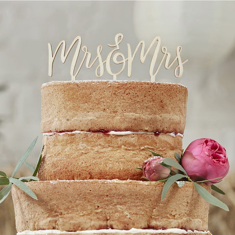 Wedding Cake Topper-rustic wood Mrs & Mrs