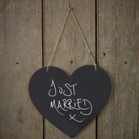 Heart shaped chalkboard hanging sign