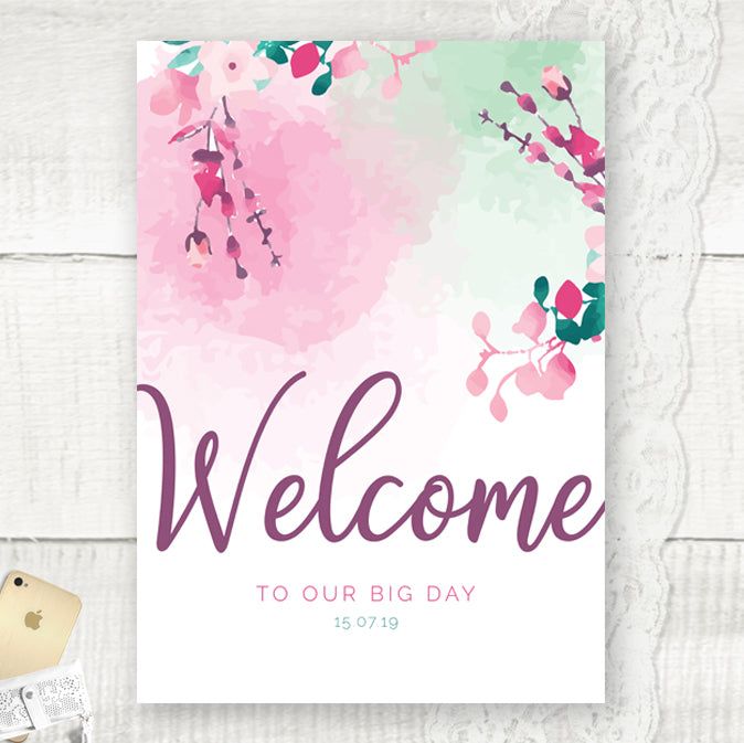 Wedding Welcome Sign, personalised wedding sign, cherry blossom design