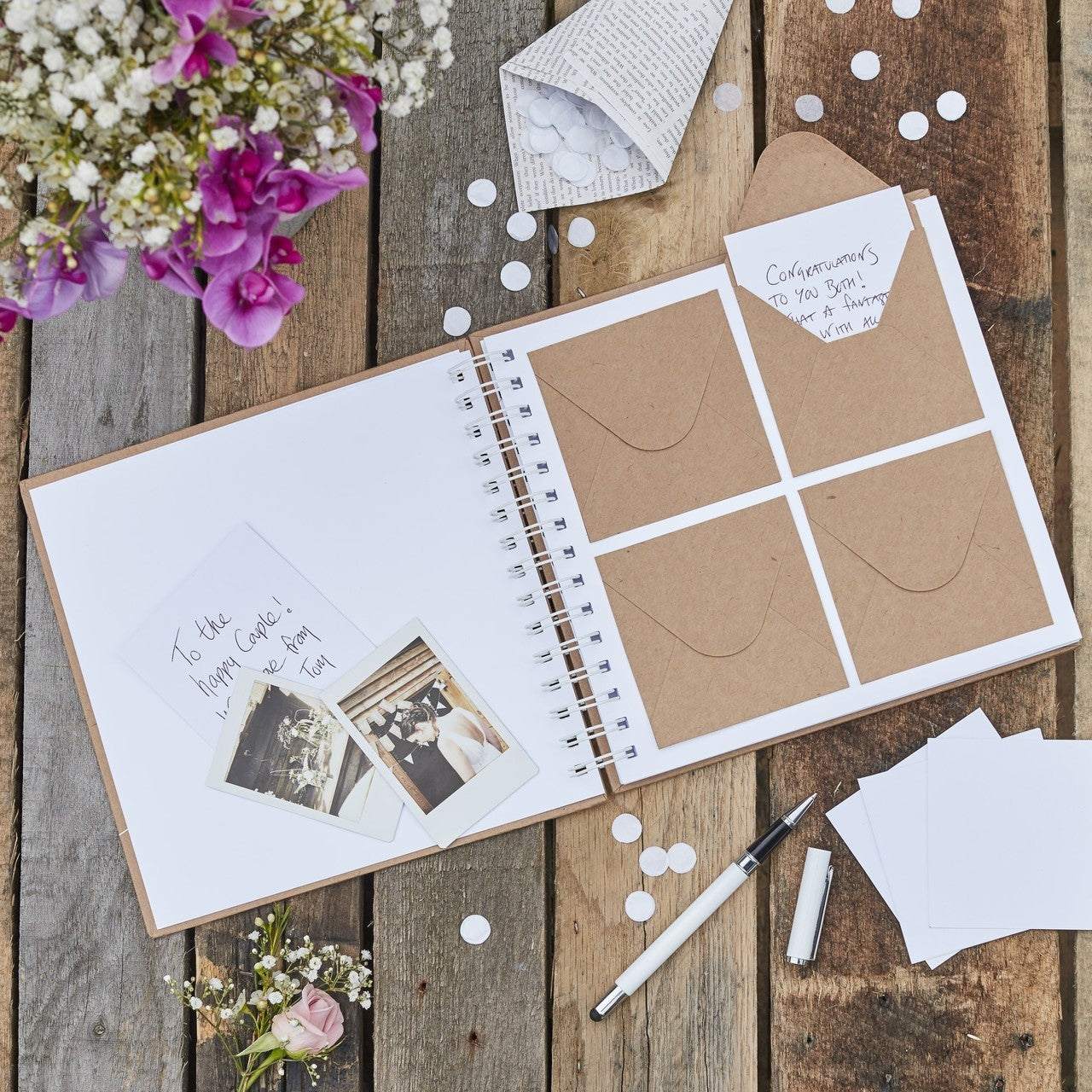 Unique Guestbook idea, mini envelope and note cards