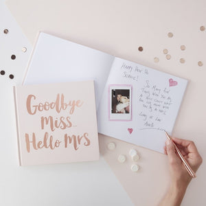 Rose Gold Foiled Goodbye Miss Hello Mrs Advice Book
