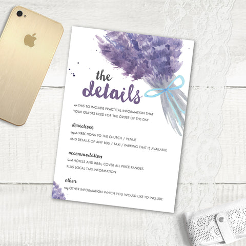 Lovely Lavender - Guest Information Card