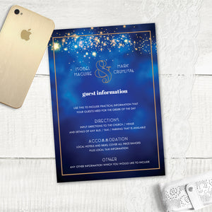 Midnight Blue - Guest Information Card