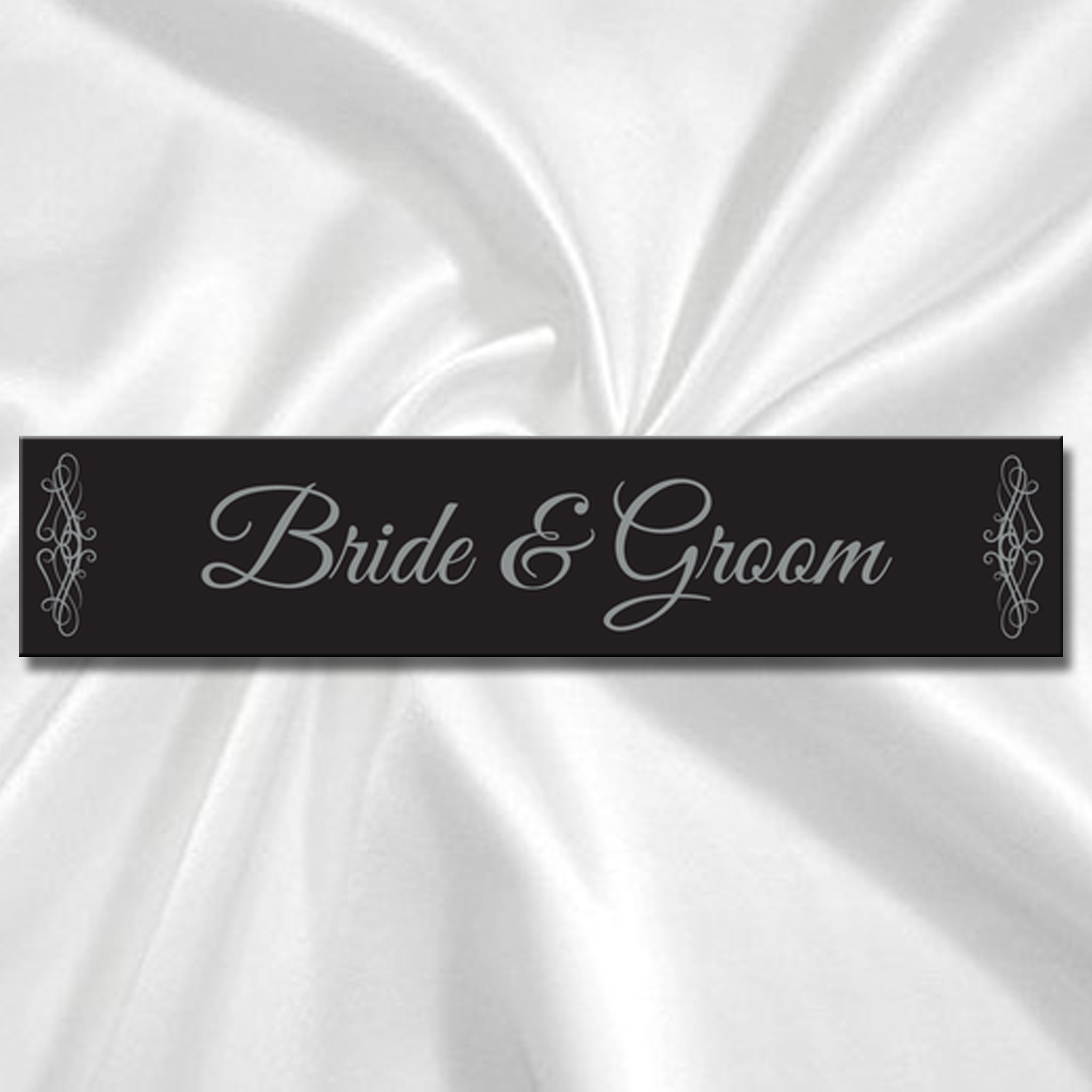 Wedding Car Number Plate - Black & Silver