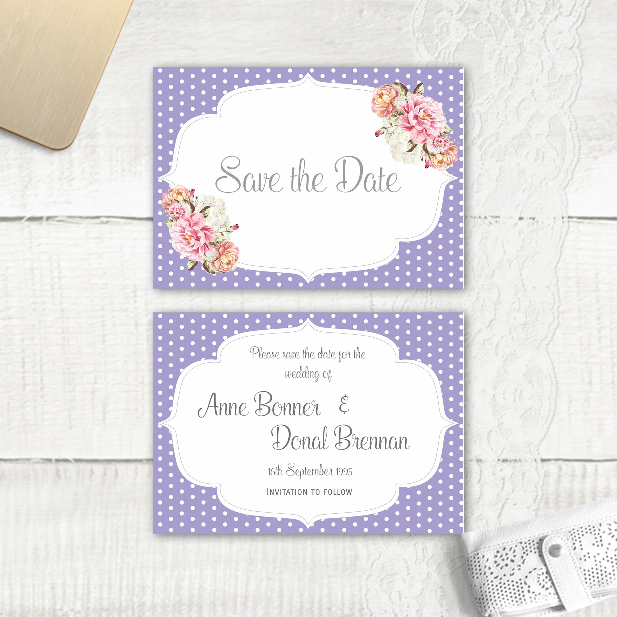 Peony Stripe - Save the Date