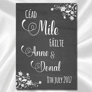 Wedding Welcome Sign (Irish Language) - Black And White
