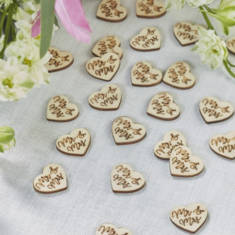 Wooden Hearts table confetti - Mr & Mrs wooden hearts