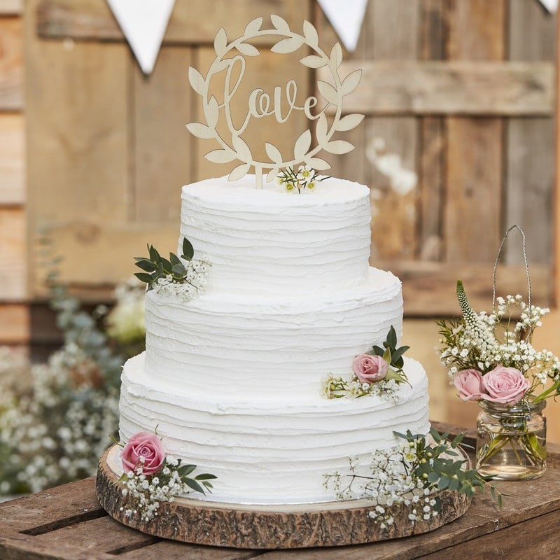 Wedding Cake Topper-rustic wood Love